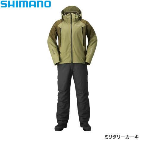 シマノ ゴアテックス ベーシックウォームスーツ ミリタリーカーキ RB-017R M~XL (防寒着 防寒ウエア 防水防寒上下セット)