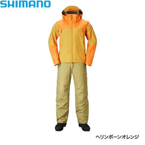 シマノ DSアドバンスウォームスーツ ヘリンボーンオレンジ RB-025R XS~XL (防寒着 防寒ウエア 防水防寒上下セット)