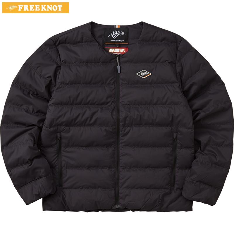ハヤブサ フリーノット FOURON ラウンドネックダウンジャケット Y1133 ブラック S~LL (防寒)