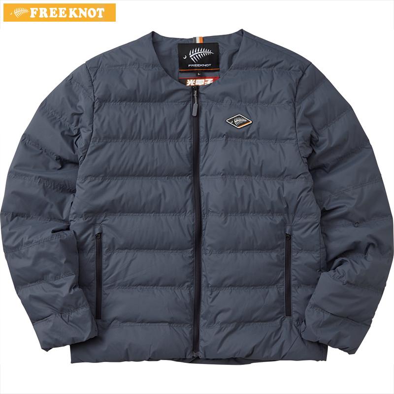 ハヤブサ フリーノット FOURON ラウンドネックダウンジャケット Y1133 ネイビー 3L (防寒)