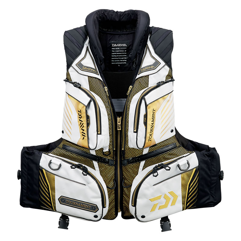 ダイワ トーナメント バリアテック 枕付サイバーフロート ライトグレー DF-3108T M~XL (フローティングベスト ライフジャケット)