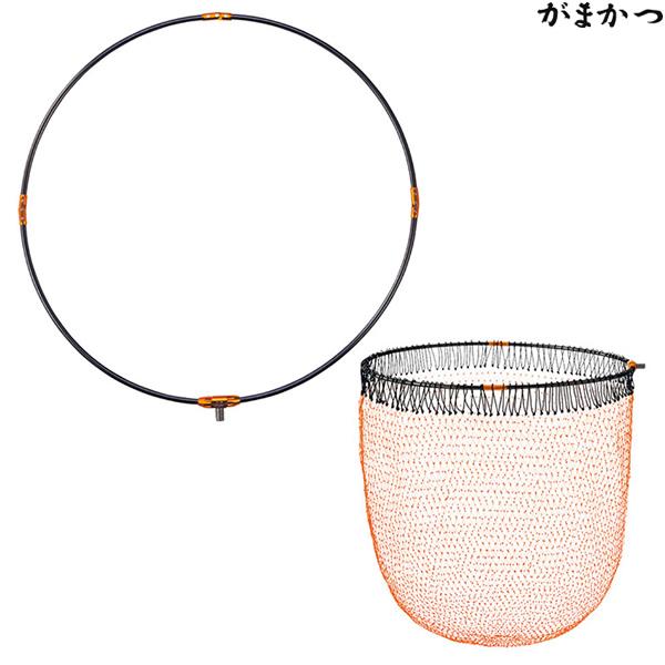 がまかつ タモ枠 (四折り/ジュラルミン) がま磯タモ網セット 45cm チタングレー×オレンジ GM-837 (玉枠 玉網)