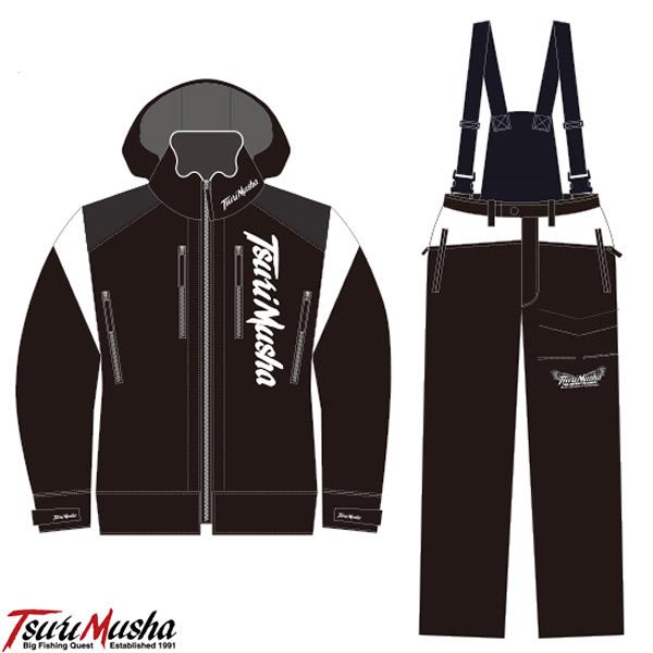 釣武者 3レイヤーサプトルストレッチレインスーツ ブラック/ホワイト (フィッシングウェア 上下スーツ レインウエア)