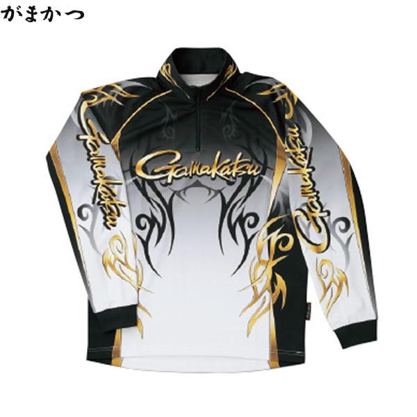 がまかつ 2WAYプリントジップシャツ (長袖) ブラック GM-3531 (フィッシングシャツ)