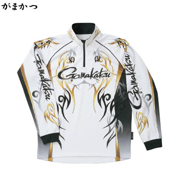 がまかつ 2WAYプリントジップシャツ (長袖) ホワイト GM-3531 (フィッシングシャツ)