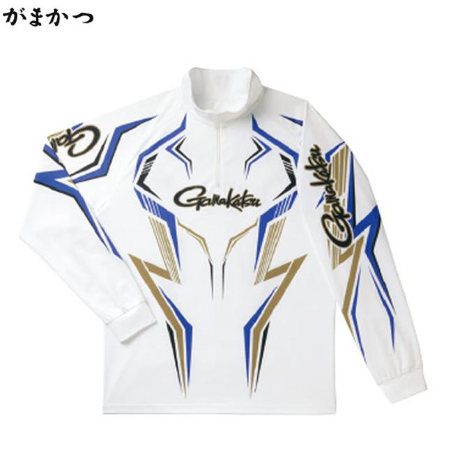 がまかつ 2WAYプリントジップS (長袖) ホワイト×ブルー GM-3540 (フィッシングシャツ)