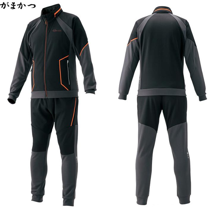 がまかつ ジャージスーツ ブラック/オレンジ GM-3545 (フィッシングウェア)