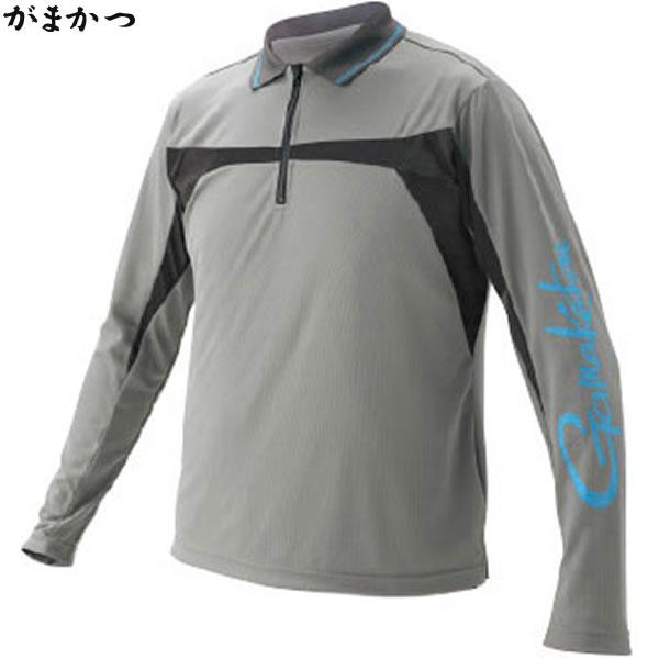 がまかつ NO FLY ZONE(R) ジップポロシャツ グレー GM-3549 (フィッシングシャツ)