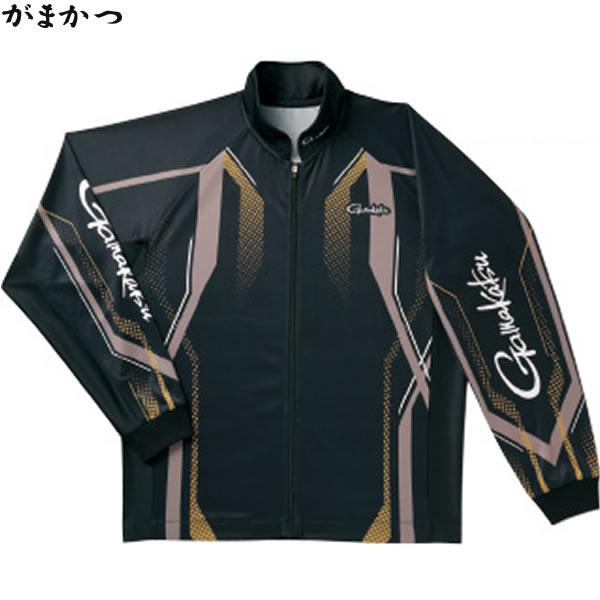 【6月5日限定 ポイント5倍】がまかつ フルジップトーナメントシャツ ブラック×ゴールド GM-3569 (フィッシングシャツ)