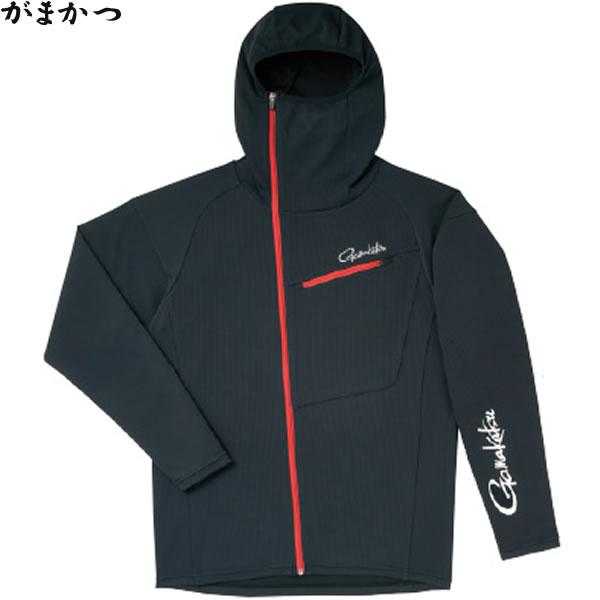 がまかつ フーデッドジップシャツ ブラック GM-3566 (フィッシングシャツ)