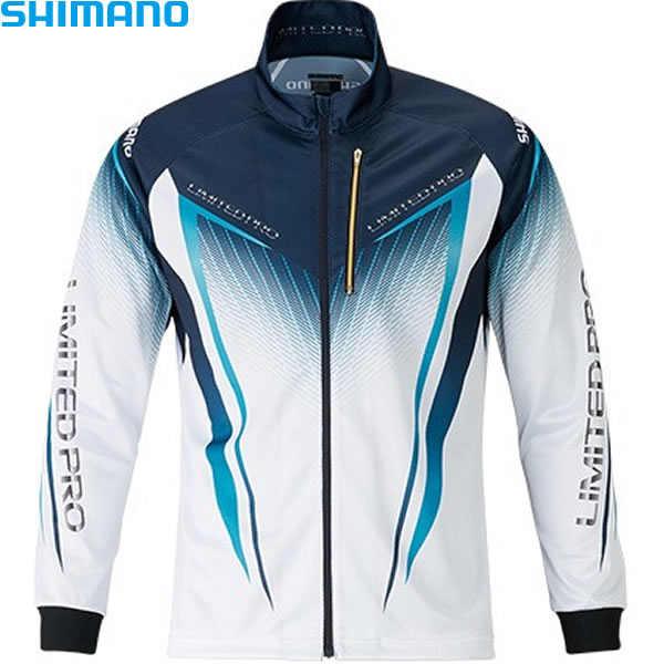 シマノ フルジップシャツ リミテッドプロ (長袖) ホワイト/ブルー M~XL SH-011S (フィッシングシャツ)
