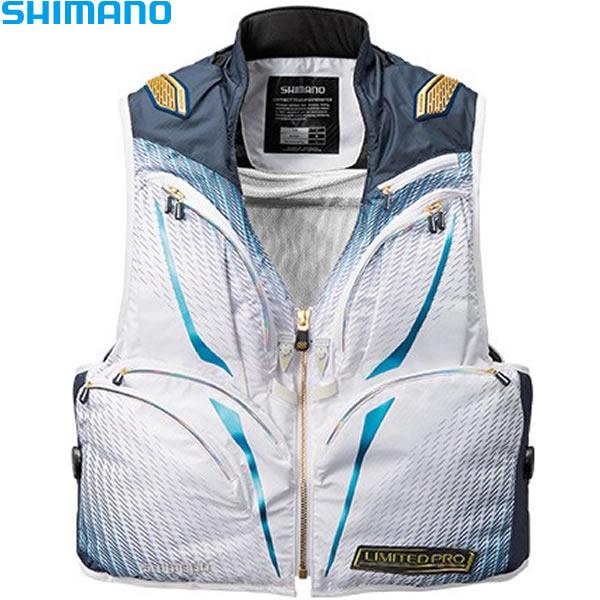 シマノ 2WAYベストリミテッドプロ ホワイト/ブルー M~XL VE-011S (鮎ベスト)