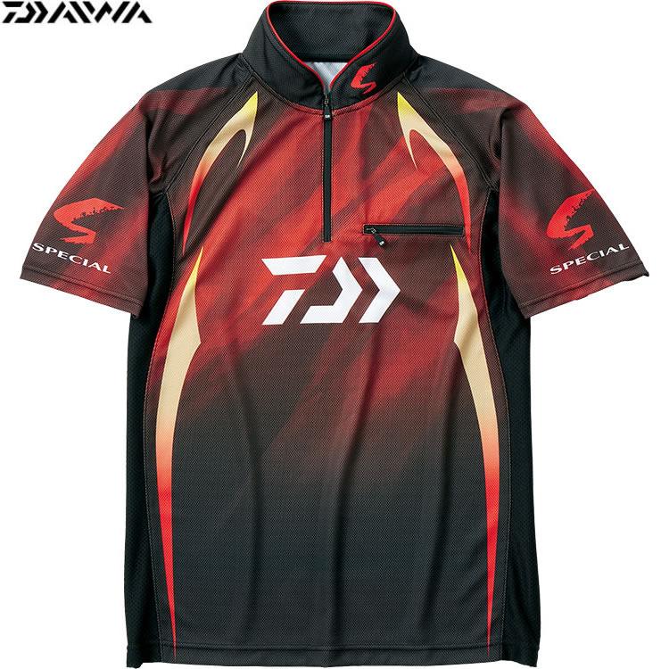 ダイワ スペシャル アイスドライ ジップアップ 半袖メッシュシャツ マグマブラック DE-71009 (フィッシングシャツ)