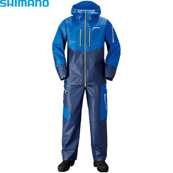 シマノ マリンライトスーツ ブルー/ネイビー RA-034N (レインウェア レインスーツ)
