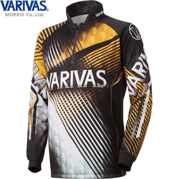 バリバス VARIVAS ドライジップシャツ長袖 ゴールド VAZS-21 (フィッシングシャツ Tシャツ)