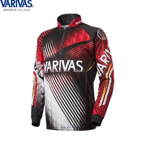 バリバス VARIVAS ドライジップシャツ長袖 レッド VAZS-21 (フィッシングシャツ Tシャツ) 3L