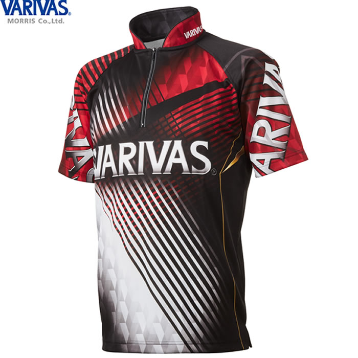 【20日限定 エントリーでPさらに10倍】バリバス VARIVAS ドライジップシャツ半袖 レッド VAZS-22 (フィッシングシャツ Tシャツ) 3L