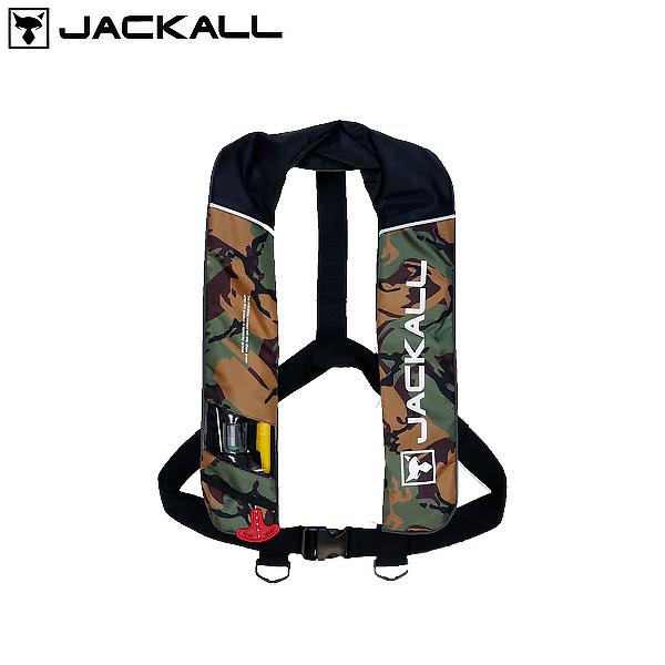 ジャッカル 自動膨張式ライフジャケット グリーンカモ/ブラック JK2520RS (国土交通省型式承認品 小型船舶用救命胴衣 タイプA)