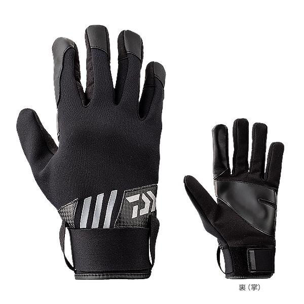 ダイワ 防寒ジギンググローブ フルカバー(ロングベルトタイプ) ブラック DG-72009W (フィッシンググローブ 防寒グローブ)