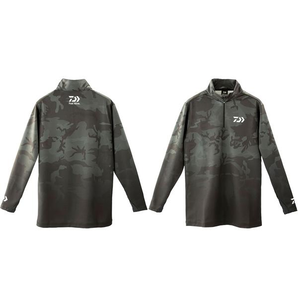 ダイワ ブレスマジック ハーフジップシャツ ブラックカモ DE-33009 (フィッシングシャツ フィッシングウェア 防風・防寒)