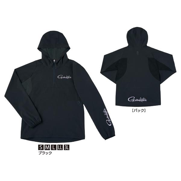 【6月5日限定 ポイント5倍】がまかつ ウィンドブレイクジップシャツ ブラック GM-3632 (フィッシングシャツ・Tシャツ)