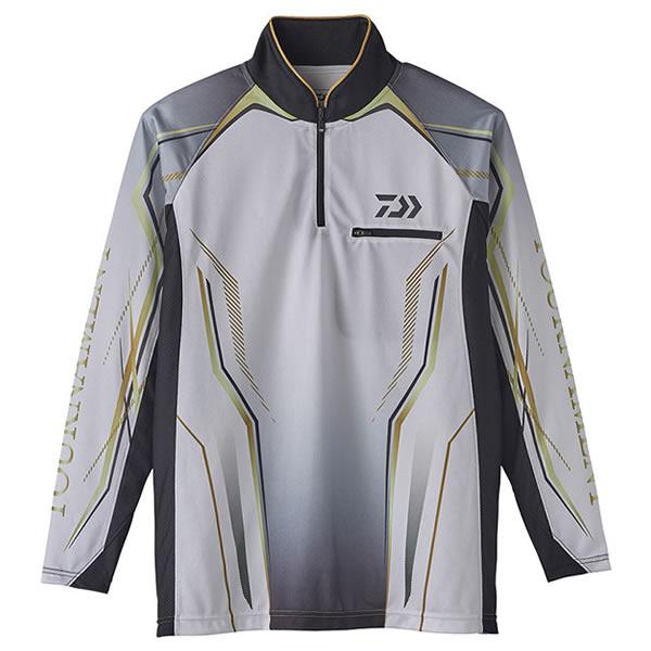 【6月5日限定 ポイント5倍】ダイワ トーナメントIDジップアップメッシュシャツ ホワイト DE-73020 (フィッシングシャツ Tシャツ)
