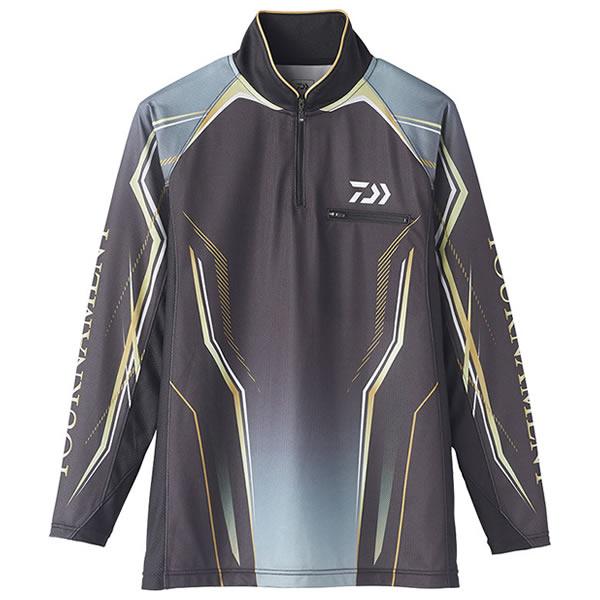 ダイワ トーナメントIDジップアップメッシュシャツ ブラック DE-73020 (フィッシングシャツ Tシャツ) 2XL~3XL