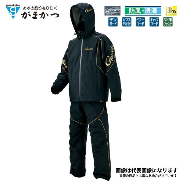 【がまかつ】フィッシングレインスーツ(超耐久撥水仕様)(GM-3466) ブラック/ゴールド