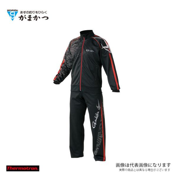 【がまかつ】ジャージスーツ(昇華プリント) [GM3489] ブラック/レッド