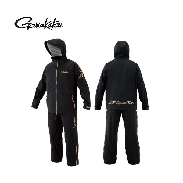 【がまかつ】GM3497 スーパーストレッチフィッシングレインスーツ ブラック L