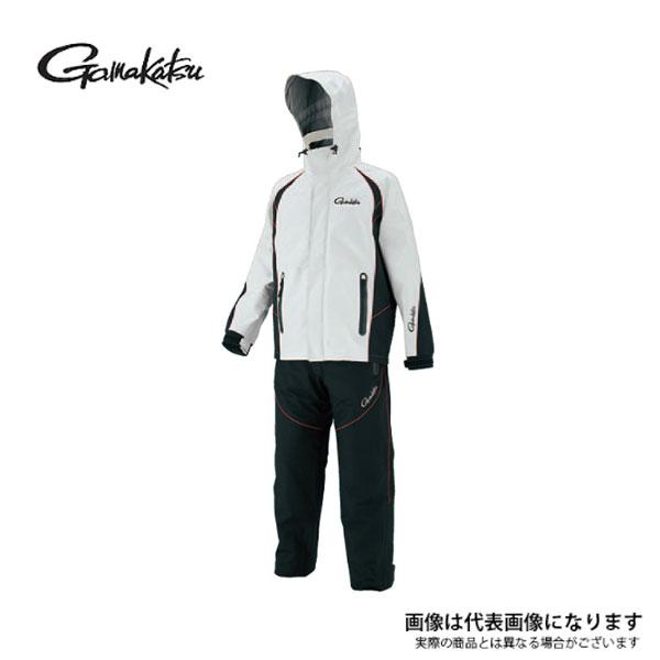 【がまかつ】GM3449 フィッシングレインスーツ (超耐久撥水仕様) ホワイト L