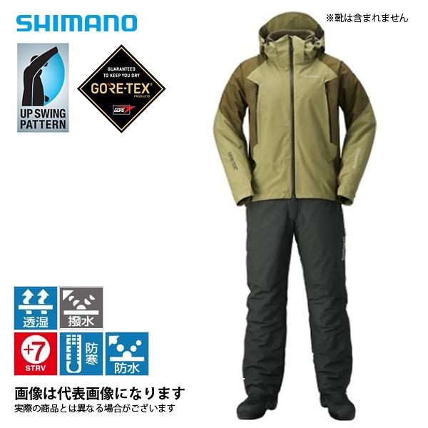 RB-017R ゴアテックス ベーシックウォームスーツ ミリタリーカーキ L シマノ 釣り 防寒着 上下セット 防寒