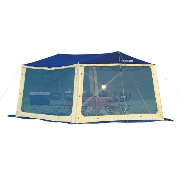 【キャプテンスタッグ】レニアススクリーンメッシュタープセット ブルー(M-3165)タープ キャプテンスタッグ タープ キャンプ