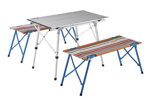 【ロゴス】オートレッグベンチテーブルセット4(ストライプ)(73188001)アウトドアチェアテーブルセット ロゴス セット