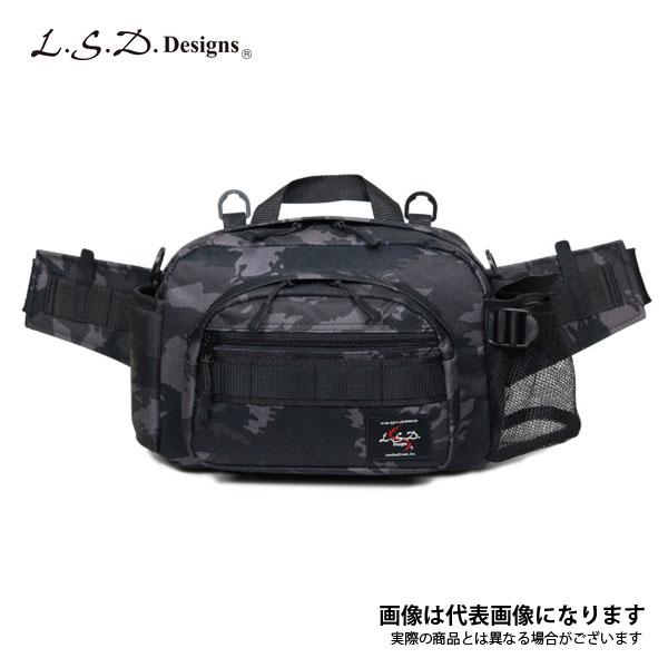 釣り バッグ ヒップバッグ ミディアムショットネオ ブラックカモ LSDデザインズ フィッシング バッグ オカッパリ バス釣り シーバス エギングなど