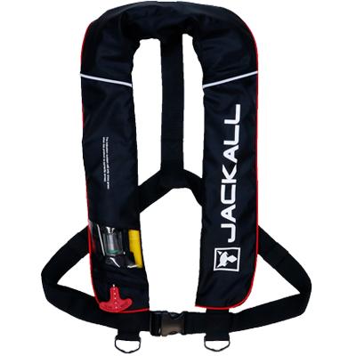 【エントリーでP10倍確定!5日0時~】【あす楽対応】ジャッカル(JACKALL) 自動膨張式ライフジャケット サスペンダータイプ JK-2520RS ブラックレッド