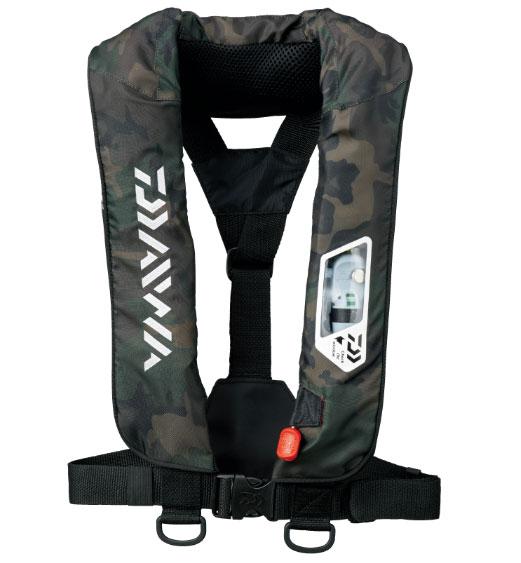 ダイワ ウォッシャブルライフジャケット(肩掛けタイプ手動・自動膨張)DF-2007〔グリーンカモ〕