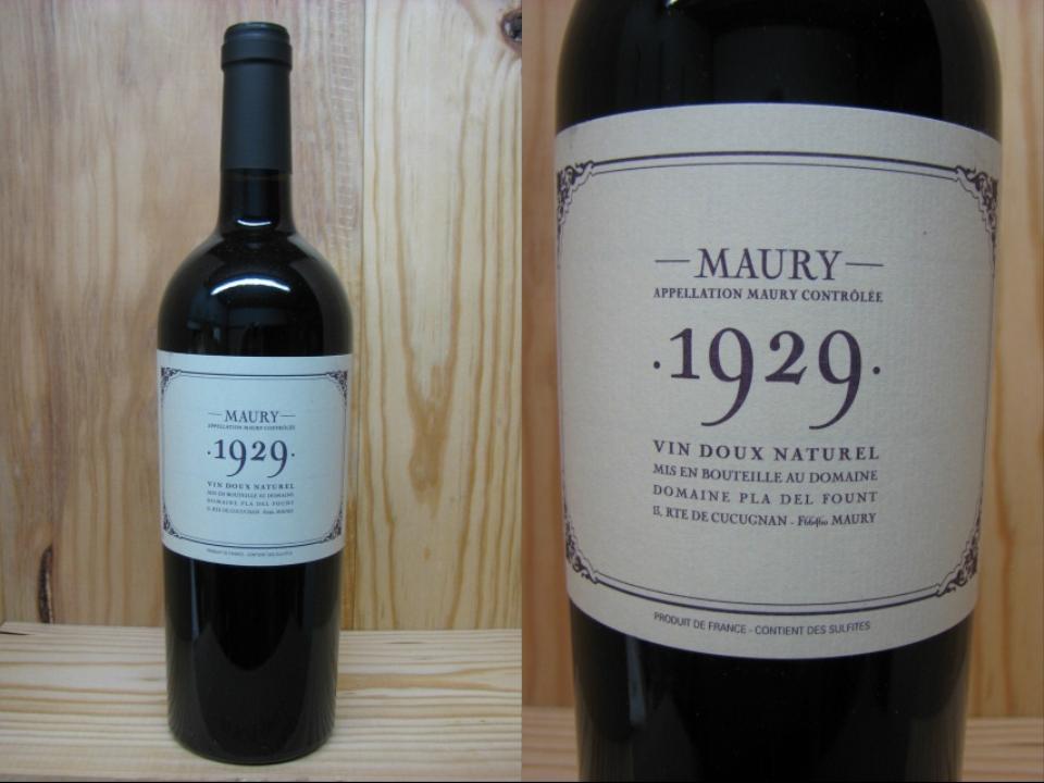[1929]  モーリー  (プラ・デル・フォン) ヴァン・ド・ナチュレル・赤・甘口Maury Vin doux Naturel Pla del Fount