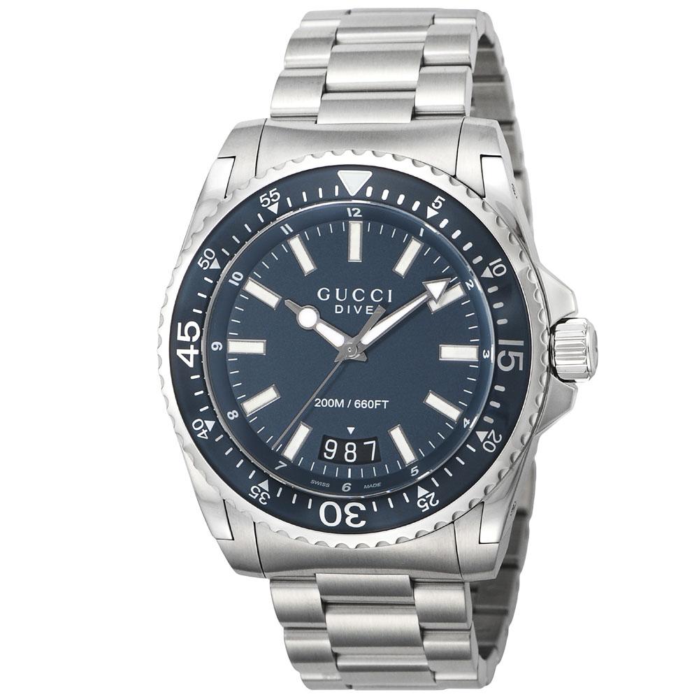 グッチ GUCCI 腕時計 DIVE ステンレスベルトMウォッチ YA136203  ギフトラッピング無料 ラッキーシール対応