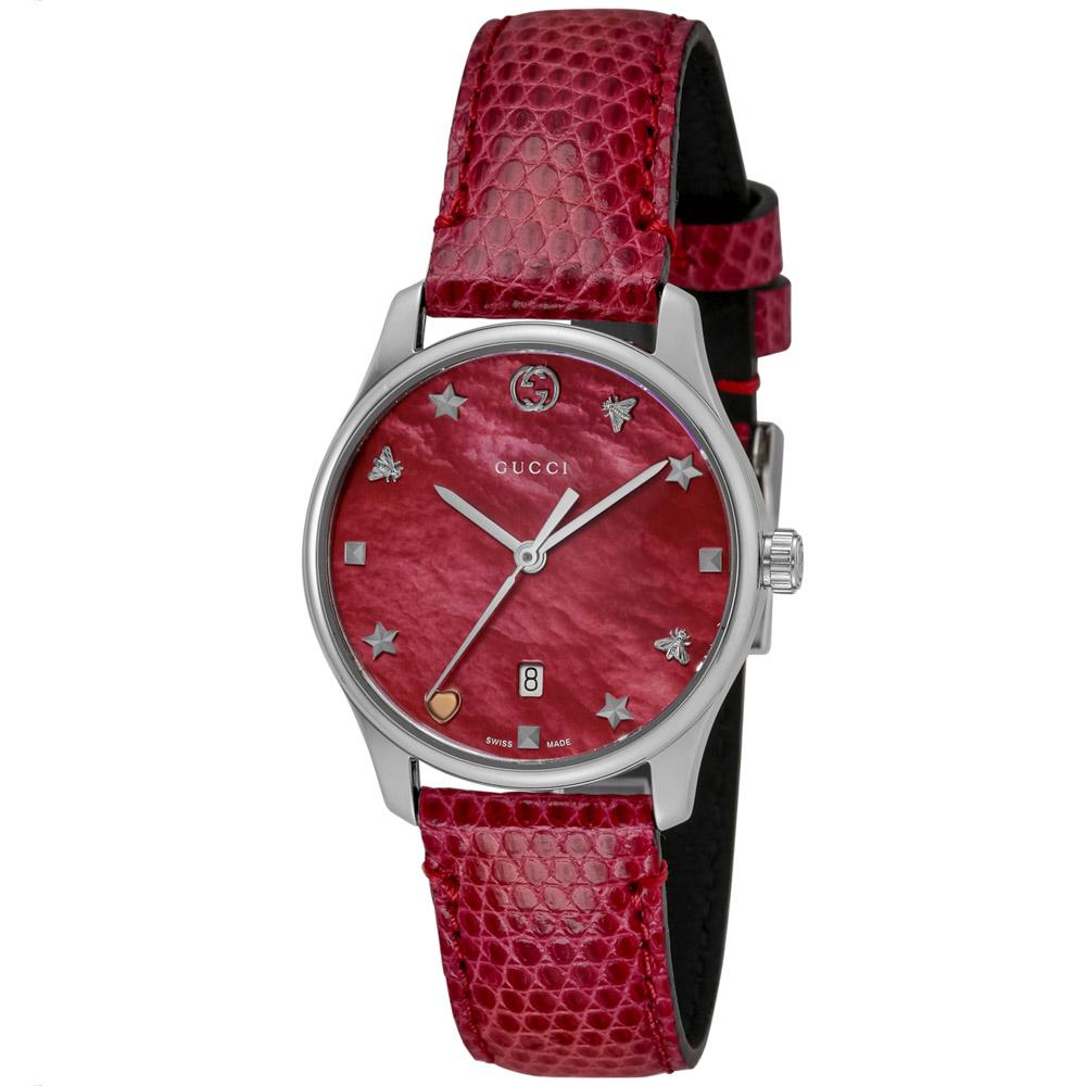 グッチ GUCCI 腕時計 GタイムレスラウンドレザーLウォッチ YA126584  ギフトラッピング無料 ラッキーシール対応