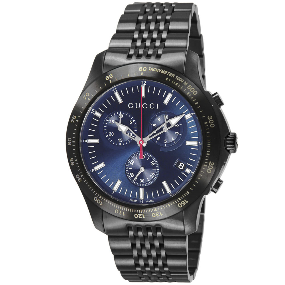 GUCCI グッチ 腕時計 G-TIMELESSクロノステンMウォッチ YA126259/BK/NV/QZ ブラック/コンビ 0 ギフトラッピング無料 ラッキーシール対応