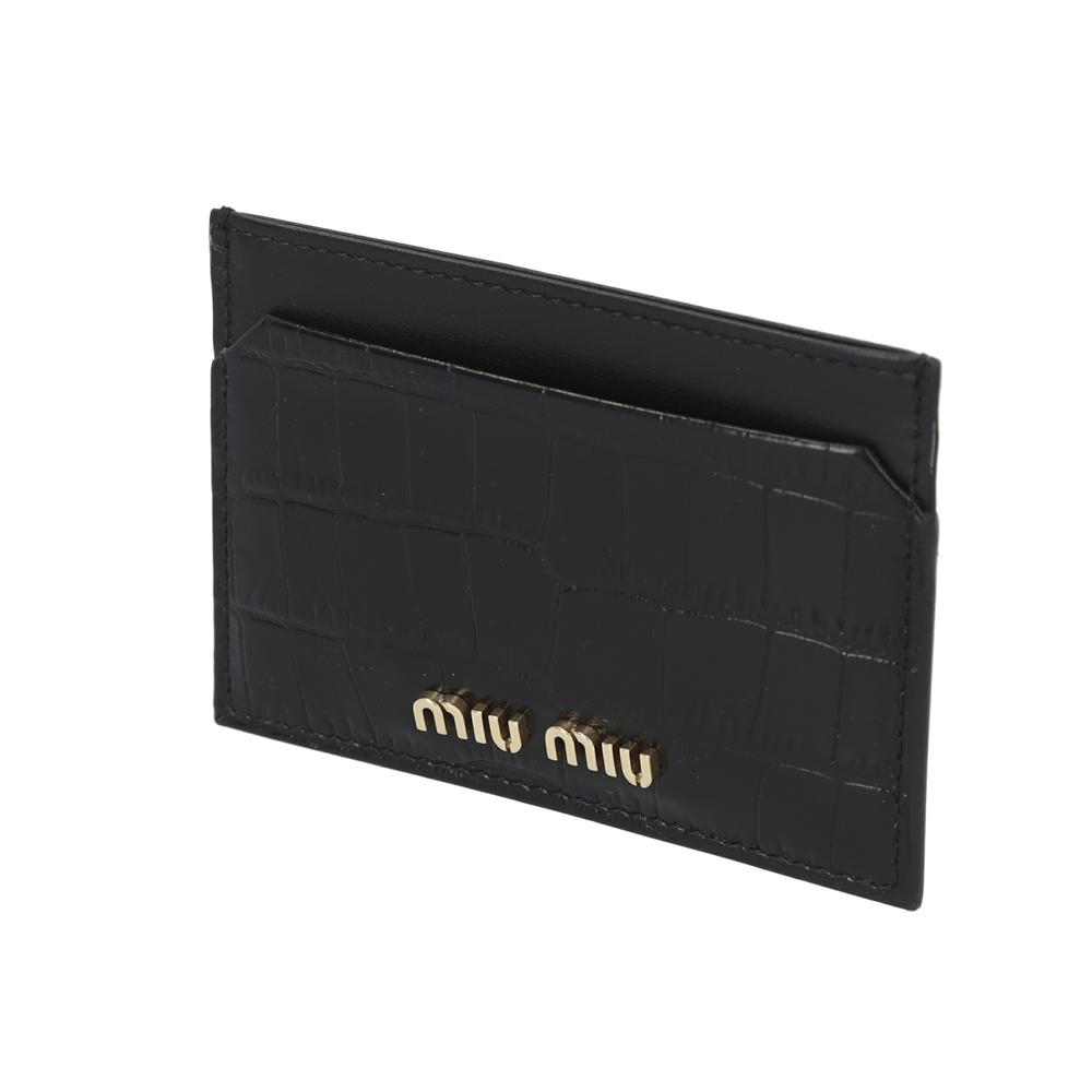 ミュウミュウ miumiu カードケース ST.COCCO型押マチ無カードケース/NERO 5MC208-2B8G  ギフトラッピング無料
