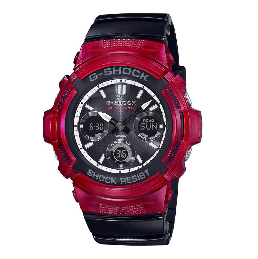 ジーショックカシオ G-SHOCK CASIO 腕時計 マルチバンド6アナデジ電波ソーラーM AWG-M100SRB-4AJF ブラック/レッド 0 ギフトラッピング無料 ラッキーシール対応
