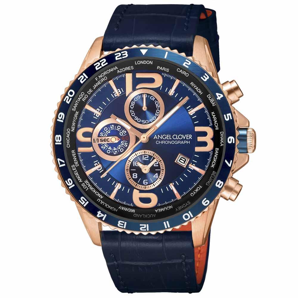 【7月19日-26日限定★エントリーでポイント5倍】エンジェルクローバー ANGEL CLOVER 腕時計 ACL・17A MONDO ワールドタイマーレザーM MO44PNV-NV  ギフトラッピング無料