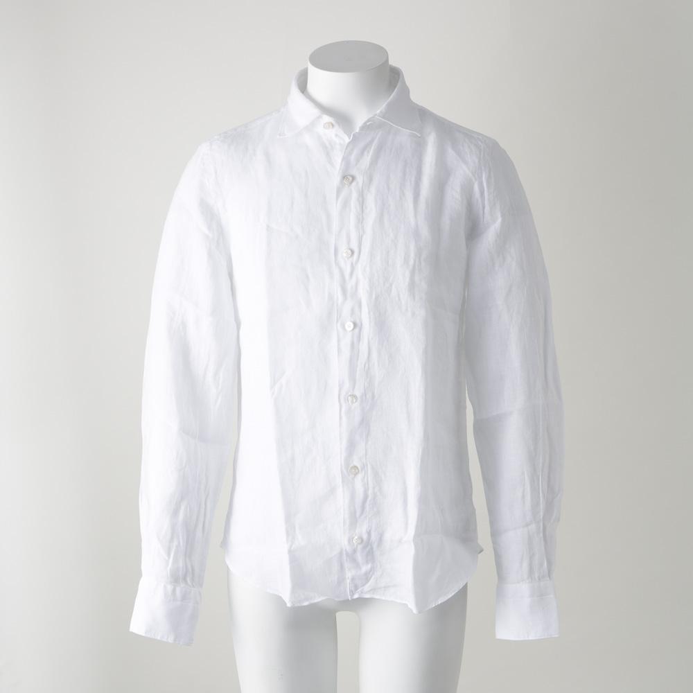 FINAMORE フィナモレ 18SM麻シンプル長袖シャツ 010608/13/ホワイト  ギフトラッピング無料 ラッキーシール対応