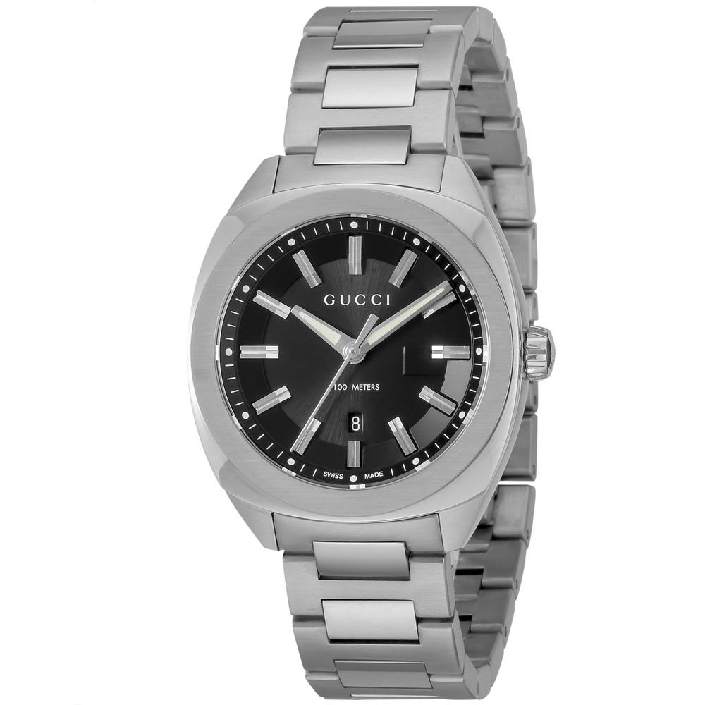 GUCCI グッチ 腕時計 GG2570 ステンレスベルトLウォッチ YA142401/SV/BK/QZ シルバー  ギフトラッピング無料 ラッキーシール対応