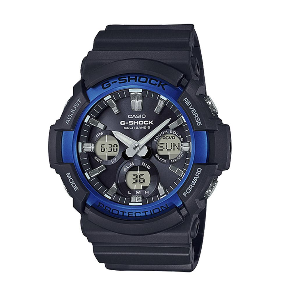 ジーショックカシオ G-SHOCK CASIO 腕時計 Aマルチバンド6アナデジ電波ソーラーM GAW-100B-1A2JF ブラック/ブルー 0 ギフトラッピング無料 ラッキーシール対応