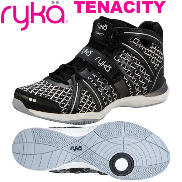 ライカ テナシティー TENACITY ブラック/格子柄 (22.0~26.5cm/レディース メンズ)【19FW09】[RYKA] フィットネスシューズ エアロ