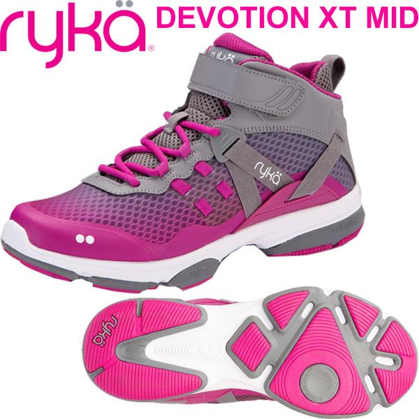 [RYKA]ライカ フィットネス DEVOTION XT MID 〔ピンクパープル×グレー〕 F4334M-1020(22.0~27.0cm/レディース/メンズ)<ディボーションエックスティーミッド>【ダンスシューズ】【18FW08】【正規品】/送料無料