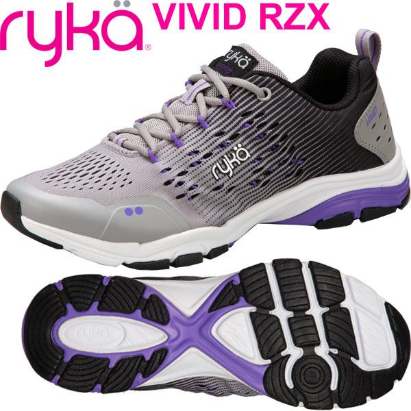 [RYKA]ライカ フィットネス VIVID RZX 〔グレー×ブラック×パープル〕 F8130M-1020(22.0~25.0cm/レディース)<ヴィヴィッドRZX>【ダンスシューズ】【18FW08】【正規品】/送料無料